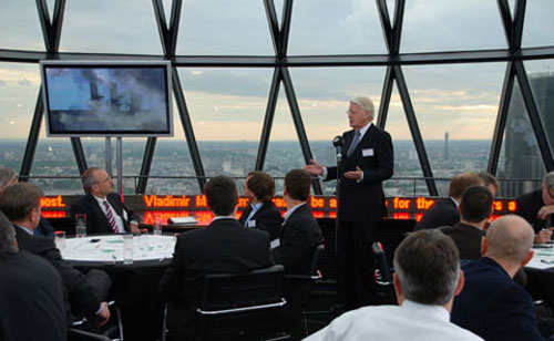 Filming LED scrolling Signs at the Gherkin for television programme